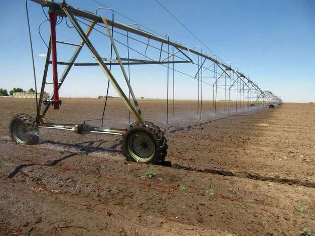 In this May 19, 2011 photo an above ground irrigation system makes its way across a cotton field near Lubbock, Texas. Irrigation systems are one way some of farmers are overcoming drought conditions as planting continues in the Texas' South Plains. Photo: Betsy Blaney, AP / AP