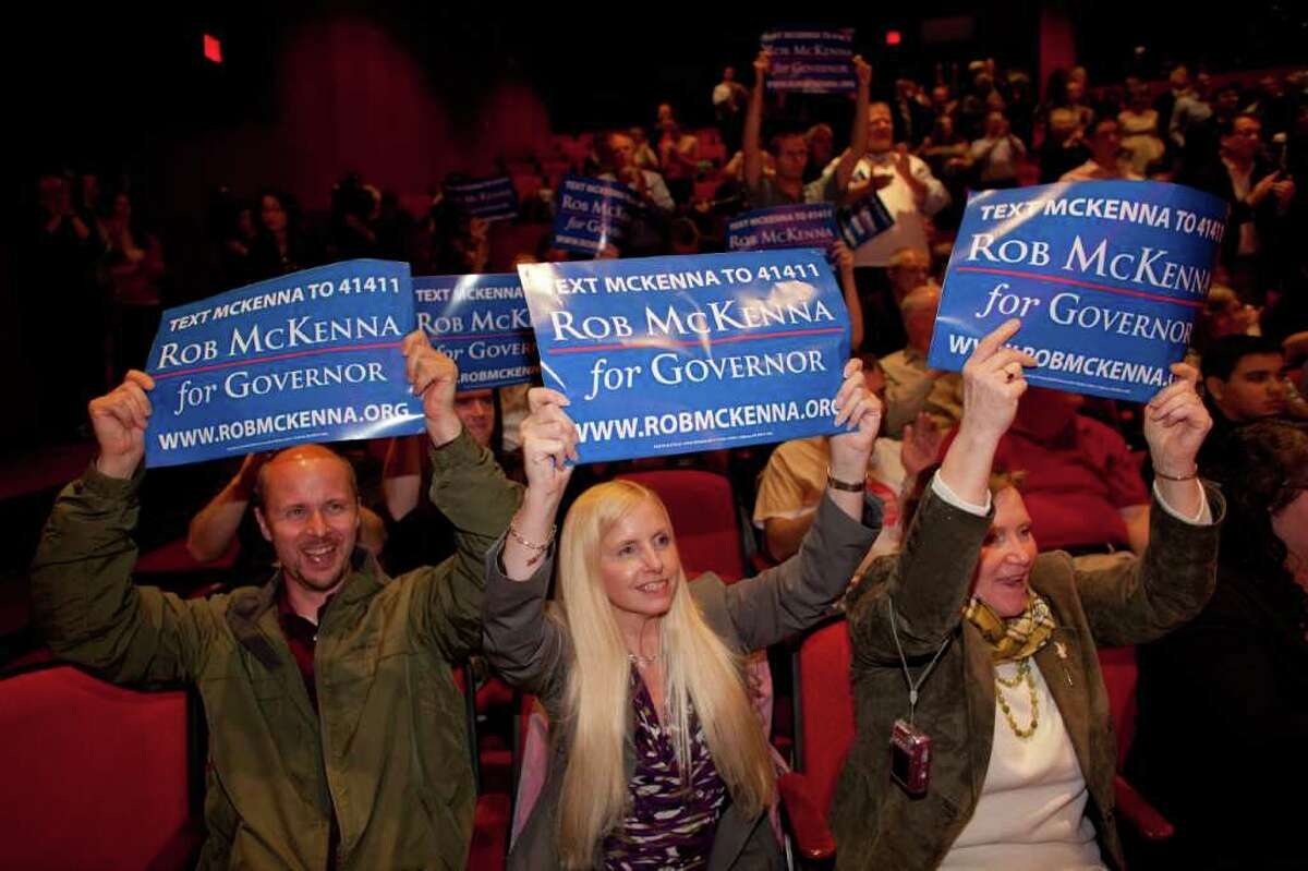 Supporters cheer as Washington State Attorney General Rob McKenna announces that he plans to run for governor of Washington State.