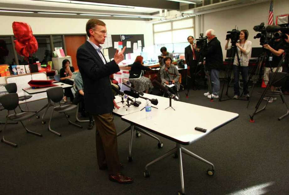 Washington State Attorney General Rob McKenna, shown here June 8 announcing his run for governor, has called for classified ad site backpage.com to shut down its adult services section. Photo: JOSHUA TRUJILLO / SEATTLEPI.COM