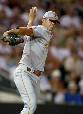 Texas pitcher Austin Wood throws one of his 169 pitches after coming on in relief to pitch 13 innings Saturday, May 30, 2009, during the Longhorns' 25-inning 3-2 victory over Boston College at the NCAA Austin Regional at UFCU Disch-Falk Field in Austin. It was the longest game in NCAA history. (AP Photo/University of Texas,Matt Hempel) Photo: Matt Hempel, Longhorns / University of Texas