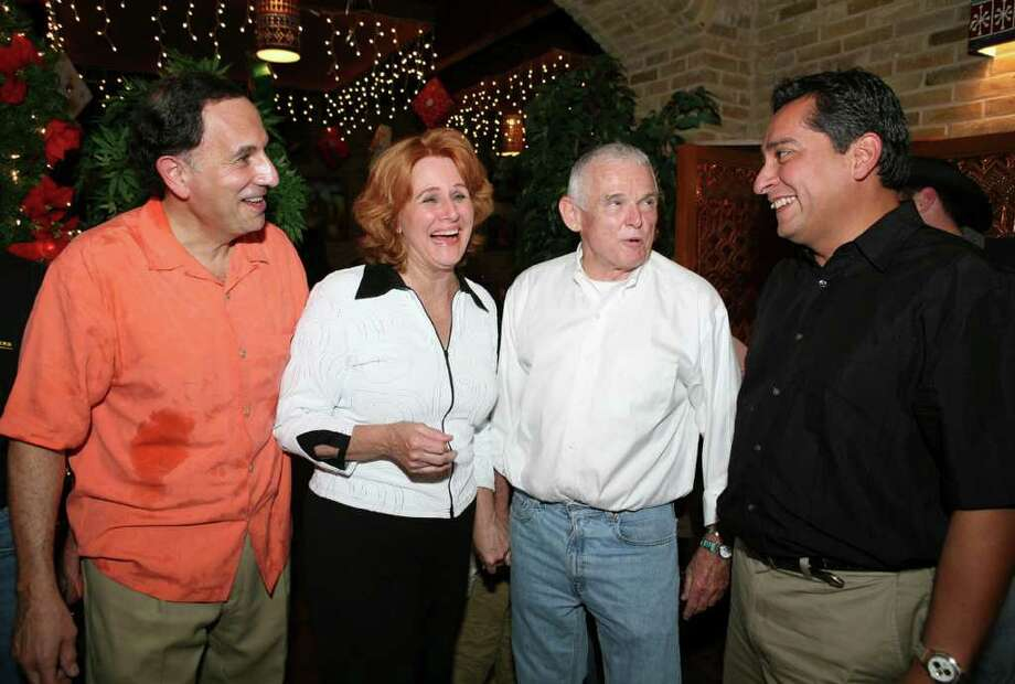 OTS/HEIDBRINK - Sol Casseb (supporter), Louise Locker (founder), Jim Monnig and Albert Mendoza (supporters) were at La Fonda Oak Hills on 12/3/2007 for the Elf Louise benefit. names checked photo by leland a. outz Photo: LELAND A. OUTZ, SPECIAL TO THE EXPRESS-NEWS / SAN ANTONIO EXPRESS-NEWS