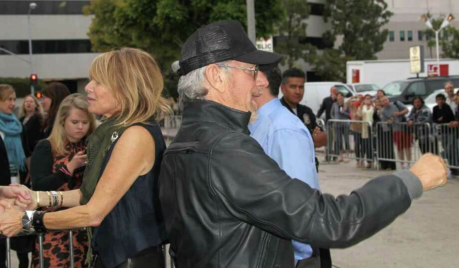 "Producer/director Steven Spielberg (R) and actress Kate Capshaw attend the Premiere of Paramount Pictures' ""Super 8"" at the Regency Village Theater in Los Angeles, California. Photo: Frederick M. Brown, Getty Images / 2011 Getty Images"