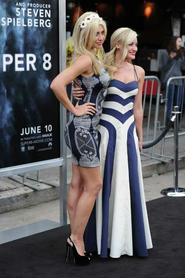 "Actresses Alyson Michalka and Amanda Michalka arrive at the premiere of Paramount Pictures' ""Super 8"" at Regency Village Theatre in Westwood, California. Photo: Frazer Harrison, Getty Images / 2011 Getty Images"
