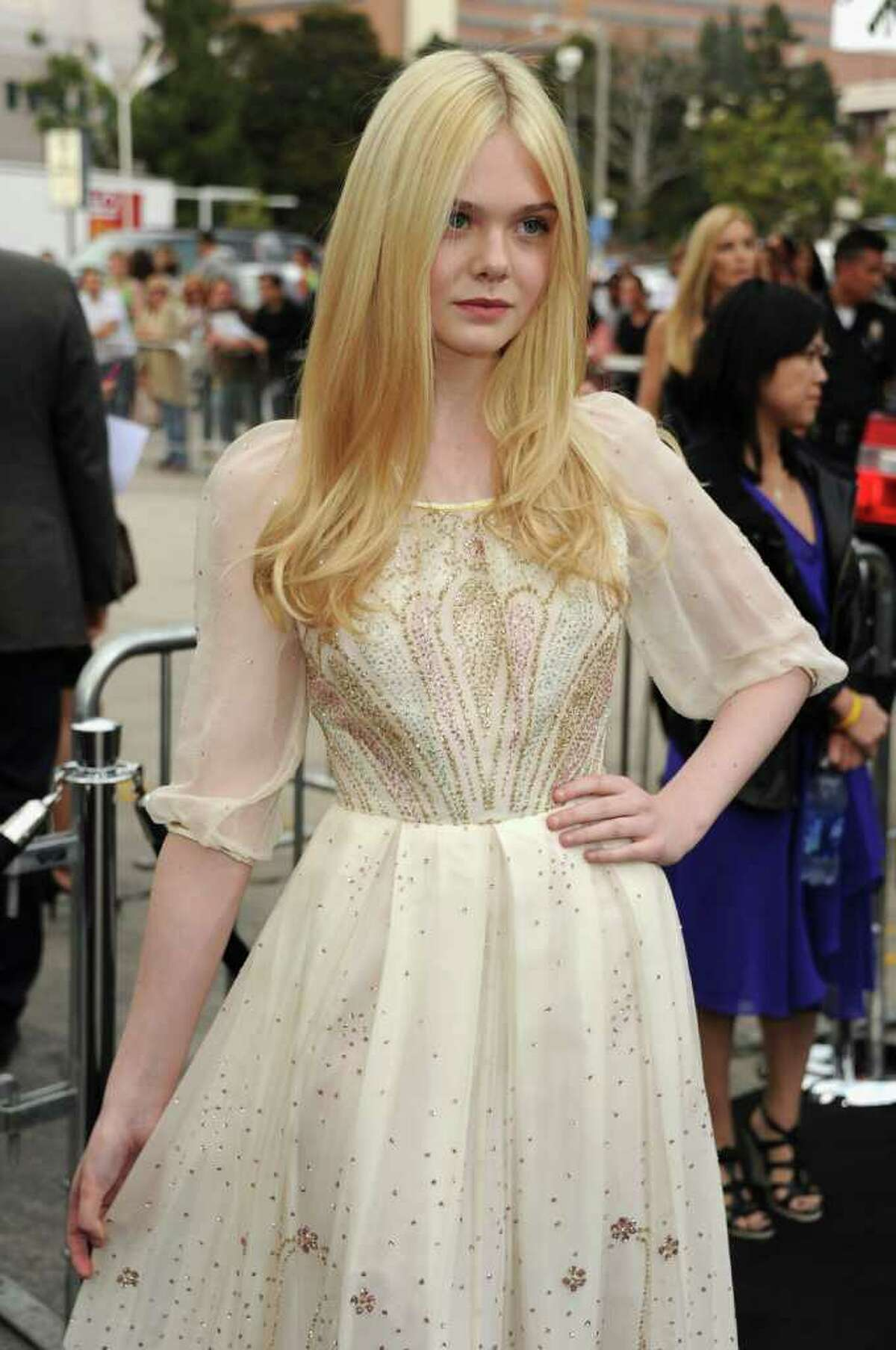 """Actress Elle Fanning arrives at the premiere of Paramount Pictures' """"Super 8"""" at Regency Village Theatre in Westwood, California."""