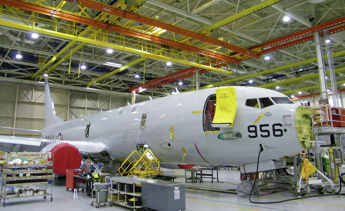 A Boeing P-8A Poseidon aircraft in production on Wednesday, June 8, 2011 in Seattle.