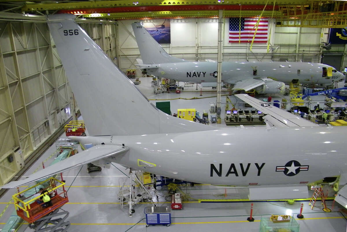 Two Boeing P-8A Poseidon aircraft in production on Wednesday, June 8, 2011 in Seattle.