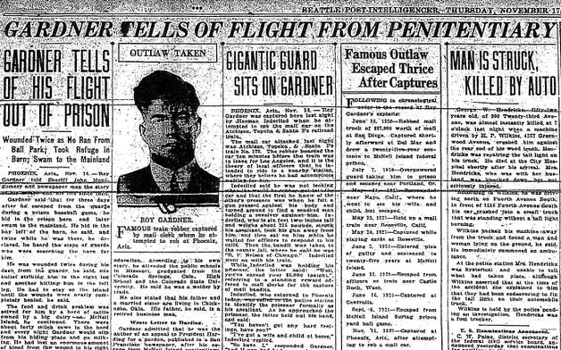 The Nov. 17, 1921 P-I story about Roy Gardner's escape from McNeil Island penitentiary. Photo: Seattlepi.com File