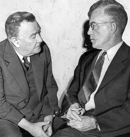 Roy Gardner, right, in March 1939 with U.S. Marshal George Vice. Gardner, who was released from prison the previous year, was arrested for allegedly mailing an obscene letter to a California newspaperwoman. The indictment was quashed in July 1939. Photo: Seattlepi.com File