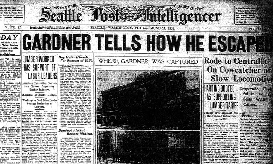 The June 17, 1921 story about mail car and train bandit Roy Gardner's capture in Centralia. Photo: Seattlepi.com File