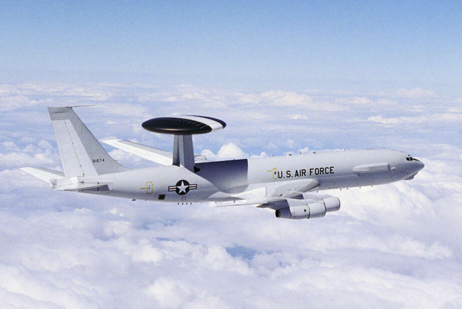 The AWACS radar, mounted in a rotating dome, provides three-dimensional, 360-degree surveillance for up to 200,000 square