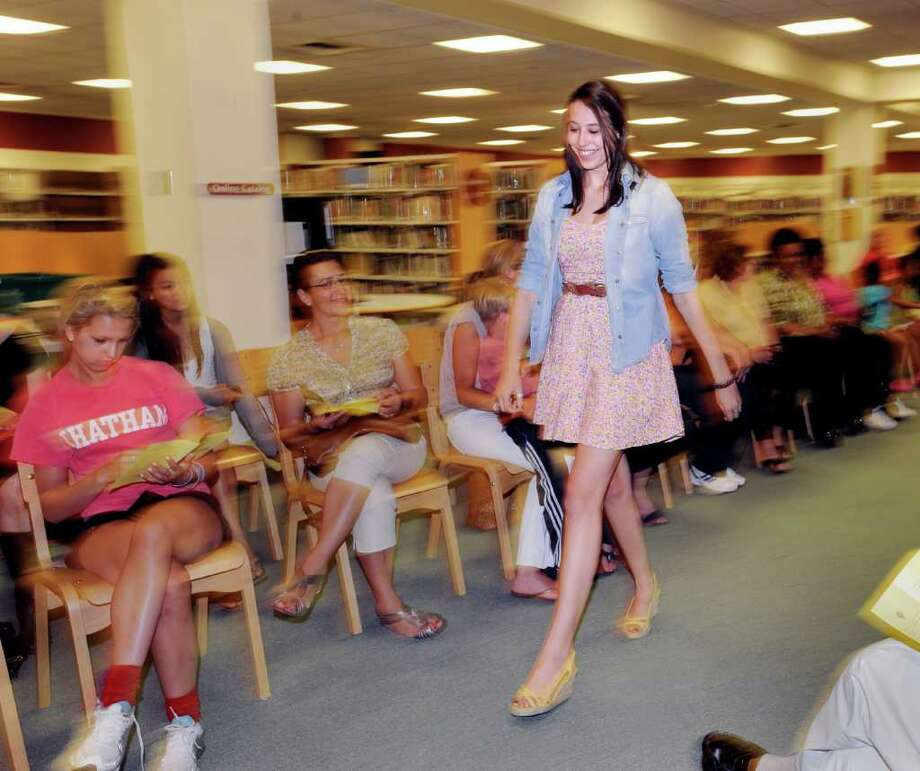 Annual Greenwich High School Fashion Show put on by the school's fashion classes in the media center at the school Thursday night, June 9, 2011. Photo: Bob Luckey / Greenwich Time