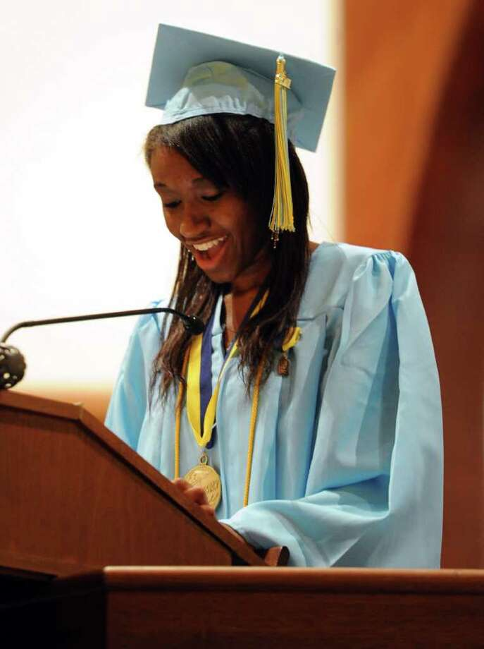 Valedictorian Daphney Anicette speaks Thursday's graduation ceremony for Kolbe Cathedral High School Seniors at St. Augustine Cathedral in Bridgeport on June 9, 2011. Photo: Lindsay Niegelberg / Connecticut Post
