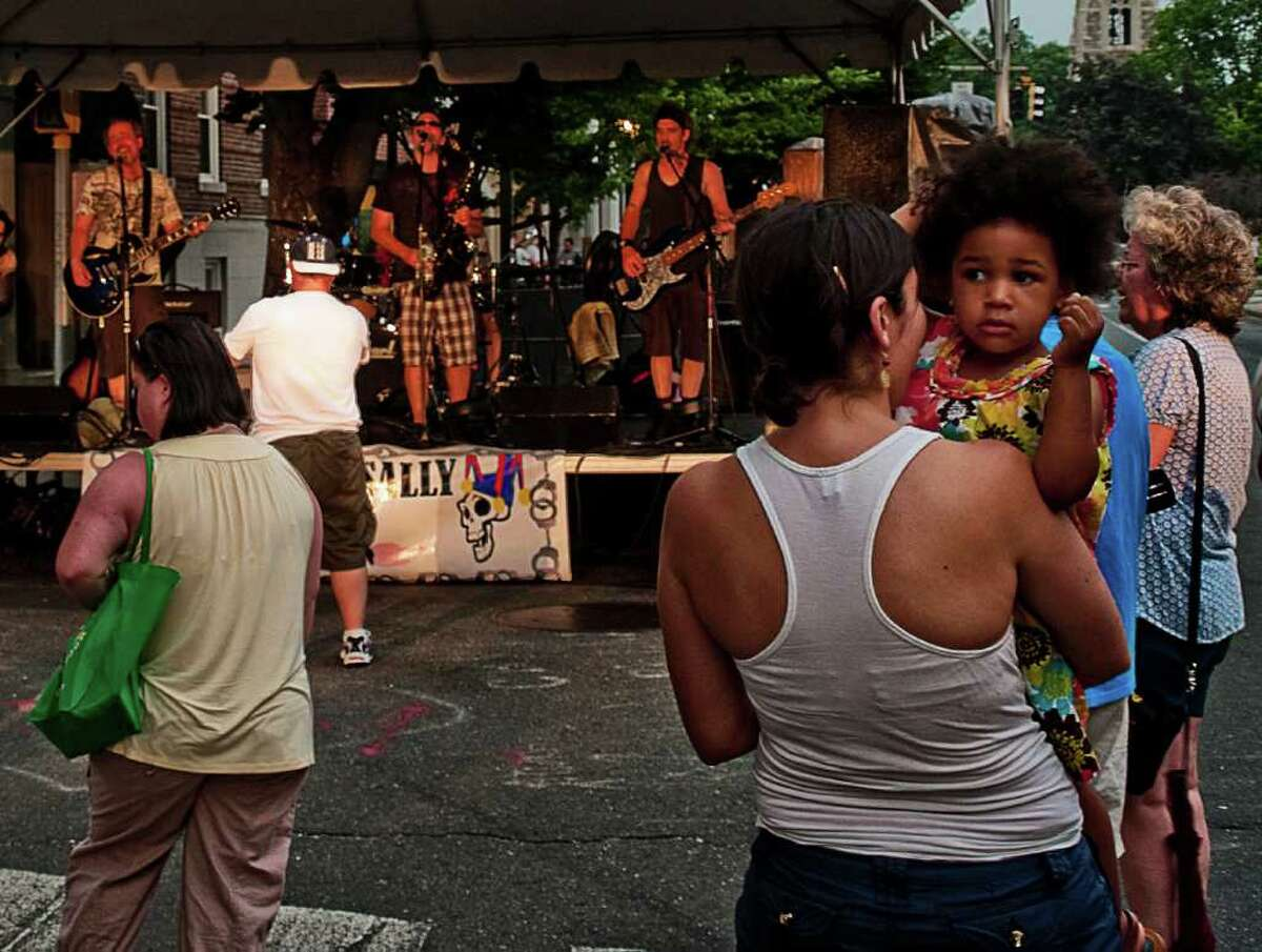 Bandapalooza on Bedford Street in Stamford on June 6 was not well attended due to the oppressive heat and the threat of storms.