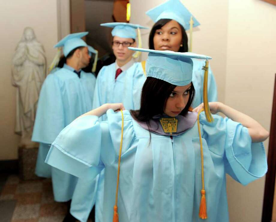 Thursday's graduation ceremony for Kolbe Cathedral High School Seniors at St. Augustine Cathedral in Bridgeport on June 9, 2011. Photo: Lindsay Niegelberg / Connecticut Post