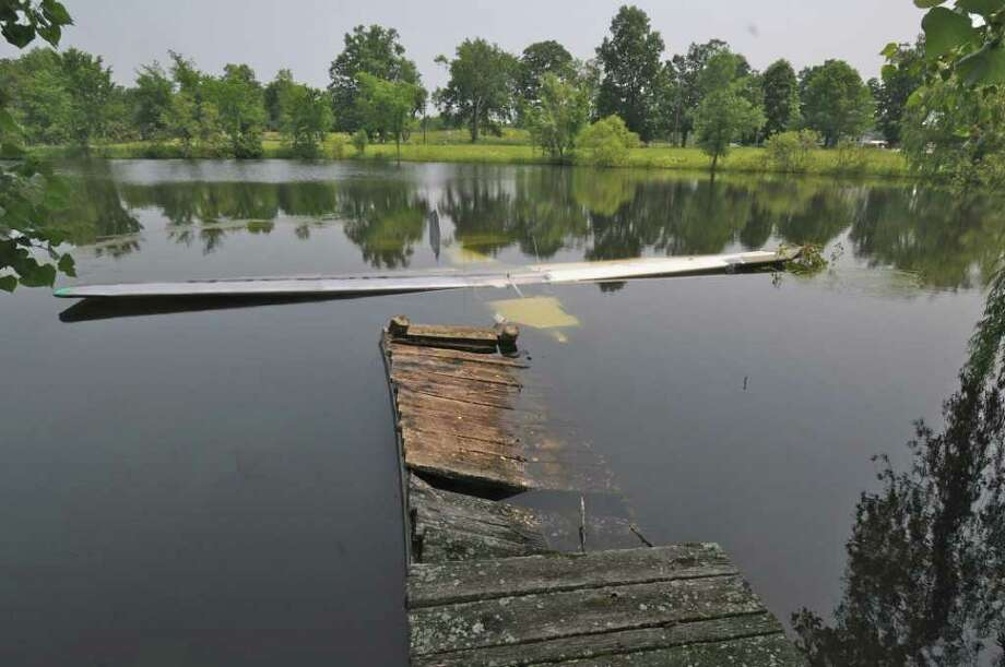 A family of four from the Cincinnati swam to safety after their single-engine plane crashed into this pond in Ghent on Wednesday. (Lance Wheeler / Special to the Times Union)
