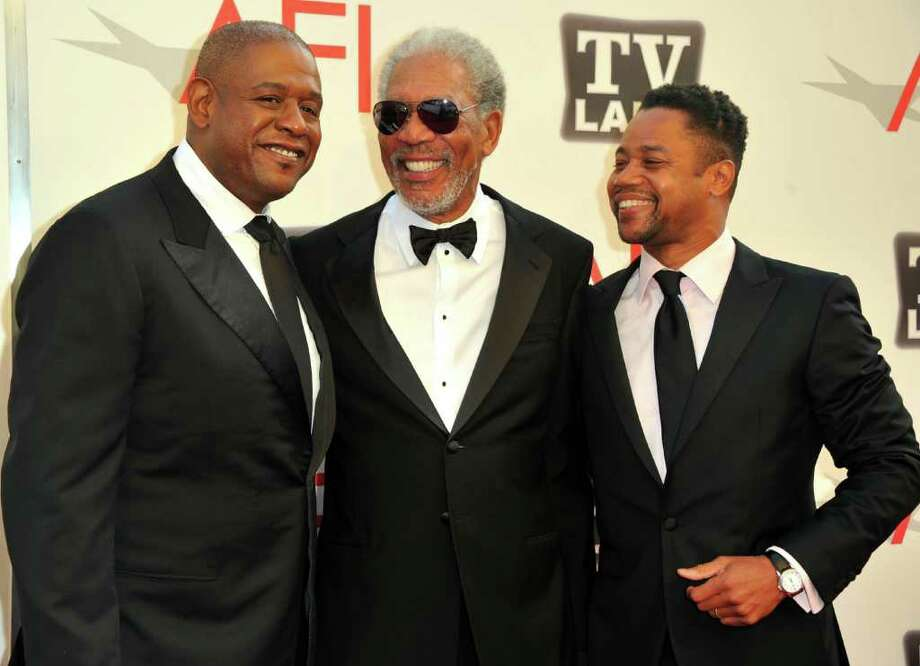 Director Forest Whitaker, 39th Life Achievement Award recipient Morgan Freeman and actor Cuba Gooding Jr. arrive. Photo: Alberto E. Rodriguez, Getty Images / 2011 Getty Images