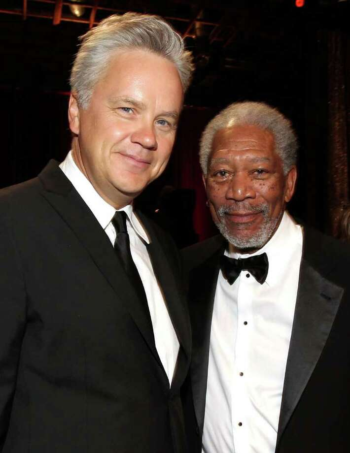 "Actor Tim Robbins (L) and ""Shawshank Redemption"" co-star Morgan Freeman in the audience. Photo: Christopher Polk, Getty Images For AFI / 2011 Getty Images"