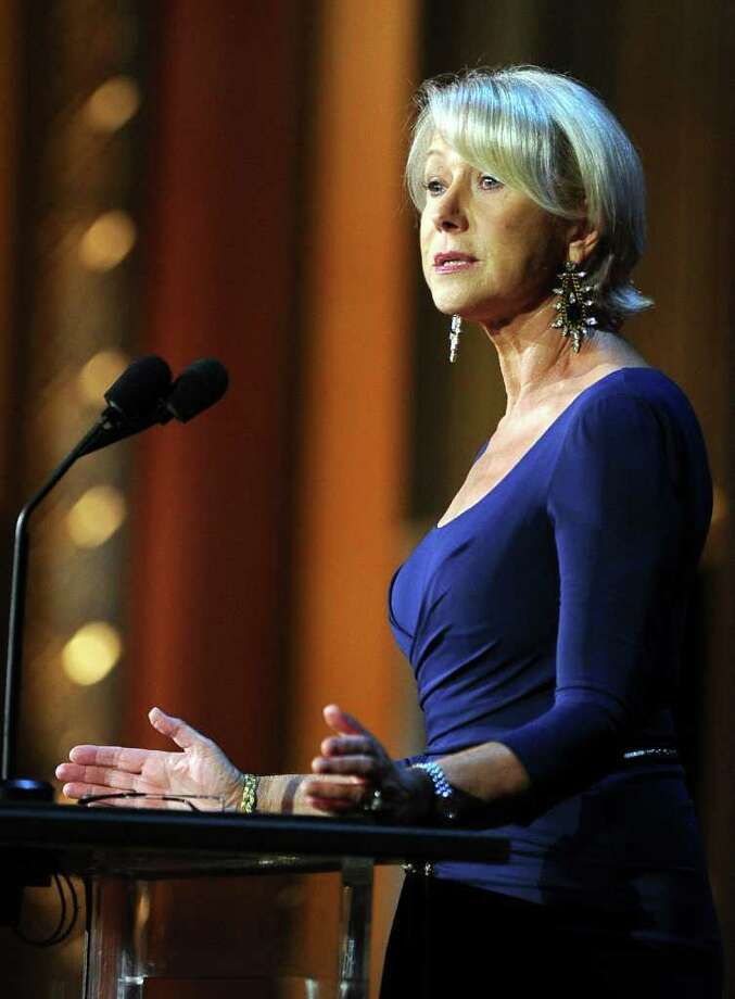 Actress Helen Mirren speaks onstage. Photo: Frazer Harrison, Getty Images For AFI / 2011 Getty Images