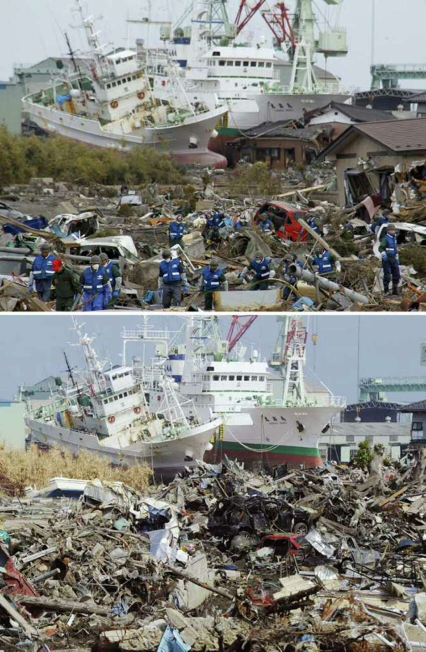 In this combo of two photos, rescue workers search for tsunami survivors amid debris as ships swept away by tsunami sit aground in a residential area March 14, 2011, top, while the ships stay in the same position in the area almost unchanged June 3, 2011 in Higashimatsushima, Miyagi Prefecture, northeastern Japan. Japan marks three month since the March 11 earthquake and tsunami Saturday, June 11, 2011. (AP Photo/Kyodo News) JAPAN OUT, MANDATORY CREDIT, NO LICENSING IN CHINA, HONG KONG, JAPAN, SOUTH KOREA AND FRANCE