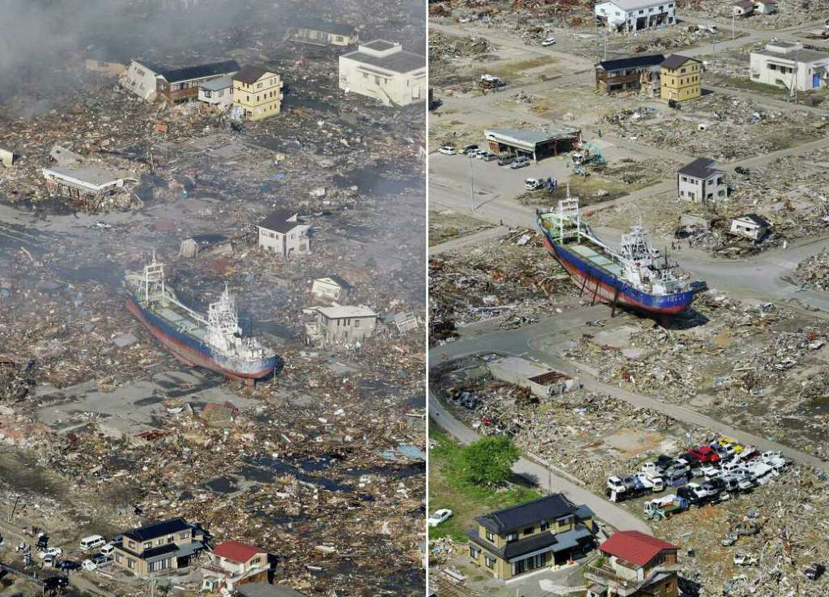 In this combo of two photos, a ship swept away by tsunami sits amid debris-covered residential area March 12, 2011, left, while the ship stays in the same position in the area getting cleaned up June 3, 2011 in Kesennuma, Miyagi Prefecture, northeastern Japan. Japan marks three month since the March 11 earthquake and tsunami Saturday, June 11, 2011. (AP Photo/Kyodo News) JAPAN OUT, MANDATORY CREDIT, NO LICENSING IN CHINA, HONG KONG, JAPAN, SOUTH KOREA AND FRANCE