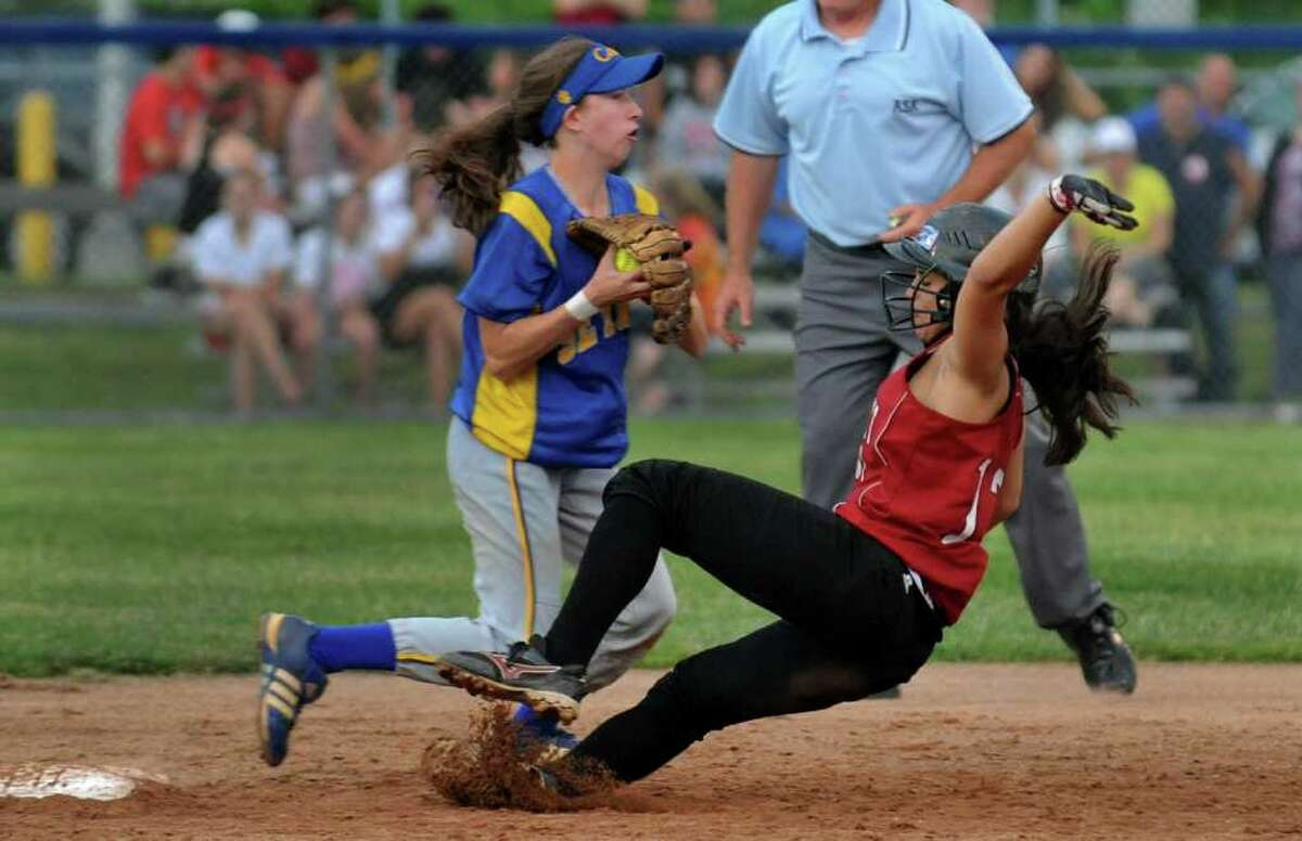 Seymour's #15 Kim Ferris gets the out at second on Sacred Heart Academy's #13 Maegan Rodriguez, during Class M State Championship softball action in West Haven, Conn. on Friday June 10, 2011.