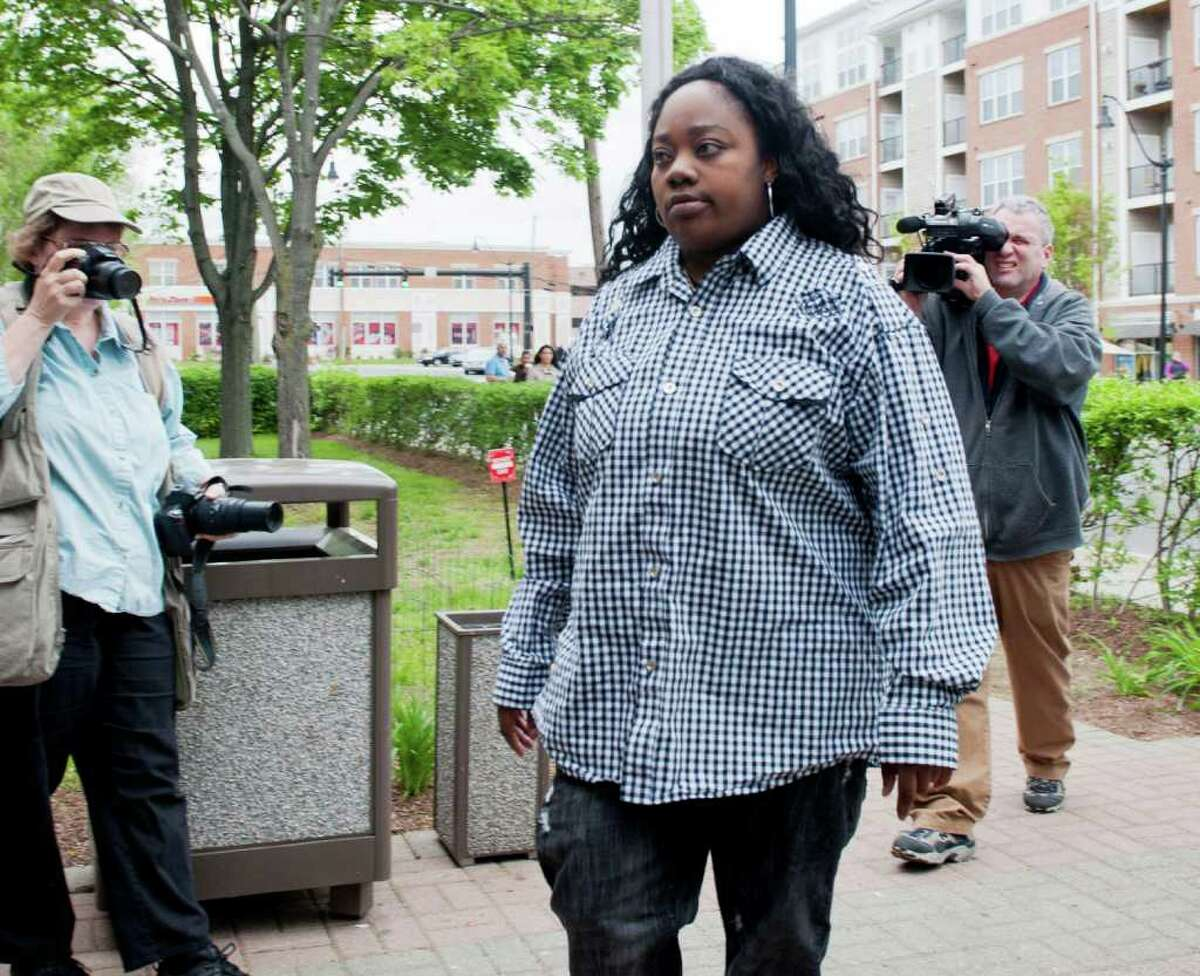 Tanya McDowell, the homeless mother arrested for allegedly sending her son to a Norwalk school while not living in the city during the last half of the 2010 school year, at a court appearance on Wednesday, May 11, 2011. Norwalk police arrested McDowell Friday on drug charges.