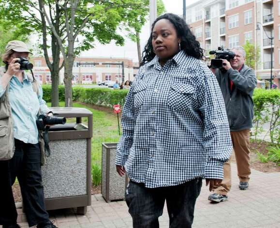 Tanya McDowell, the homeless mother arrested for allegedly sending her son to a Norwalk school while not living in the city during the last half of the 2010 school year, at a court appearance on Wednesday, May 11, 2011. Norwalk police arrested McDowell Friday on drug charges. Photo: Douglas Healey, ST / Stamford Advocate Freelance