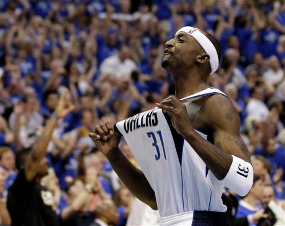 Dallas Mavericks' Jason Terry celebrates after Game 5 of the NBA Finals basketball game against the Miami Heat Thursday, June 9, 2011, in Dallas. The Mavericks won 112-103 to take a 3-2 lead in the series. (AP Photo/David J. Phillip) Photo: Associated Press