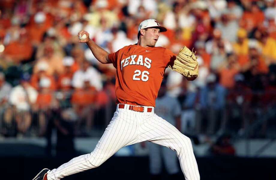 SPORTS   Longhorn pitcher Taylor Jungmann throws as The University of Texas Longhorns play Arizona State at Disch-Falk Field in Austin on June 10, 2011.    Tom Reel/Staff Photo: TOM REEL, Express-News / © 2011 San Antonio Express-News
