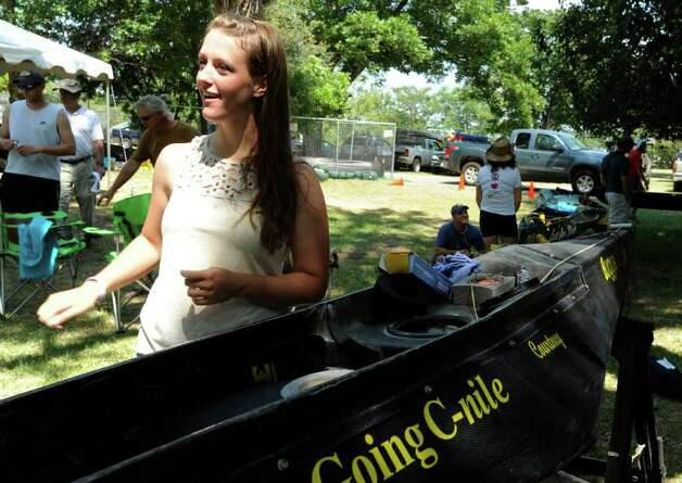 "Courtney Weber will be attempting to canoe the 260-mile Texas Water Safari course alone in her ""Going C-nile"" watercraft. Photo: Billy Calzada/Express-News / gcalzada@express-news.net"