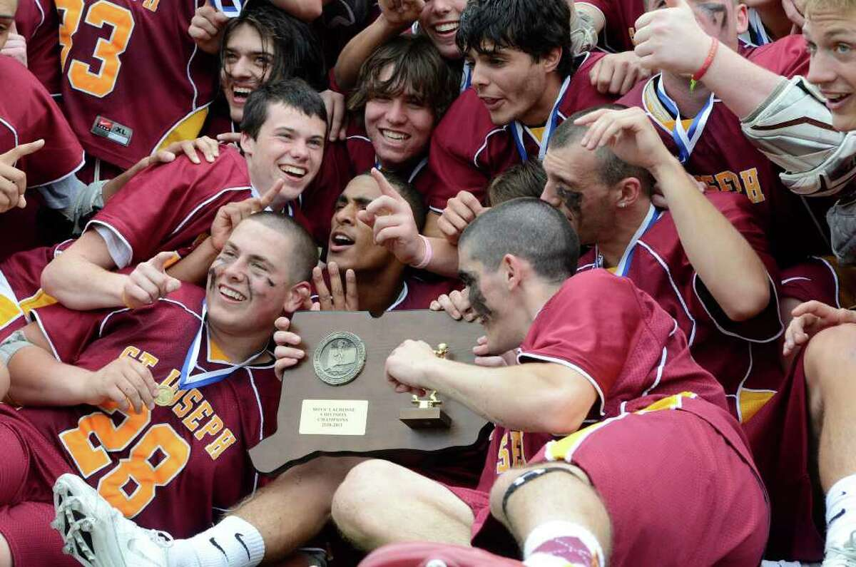 St Joseph High School wins the Class S boys lacrosse championship versus Joel Barlow High School, at Brien McMahon High School in Norwalk, CT on Saturday June 11, 2011.