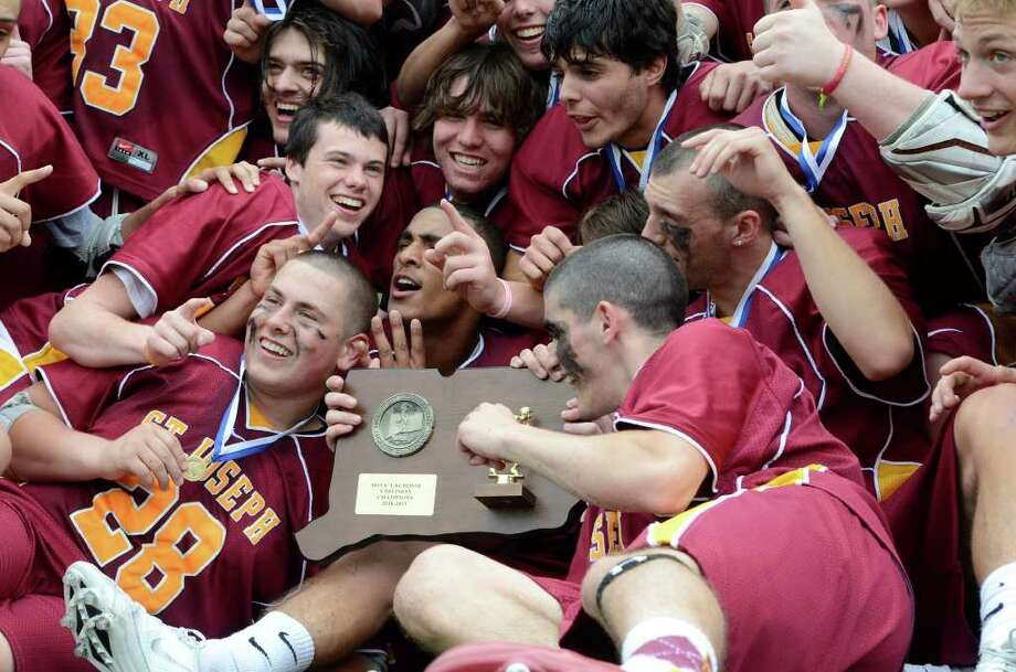 St Joseph High School wins the Class S boys lacrosse championship versus Joel Barlow High School, at Brien McMahon High School in Norwalk, CT on Saturday June 11, 2011. Photo: Shelley Cryan / Shelley Cryan freelance; Connecticut Post freelance