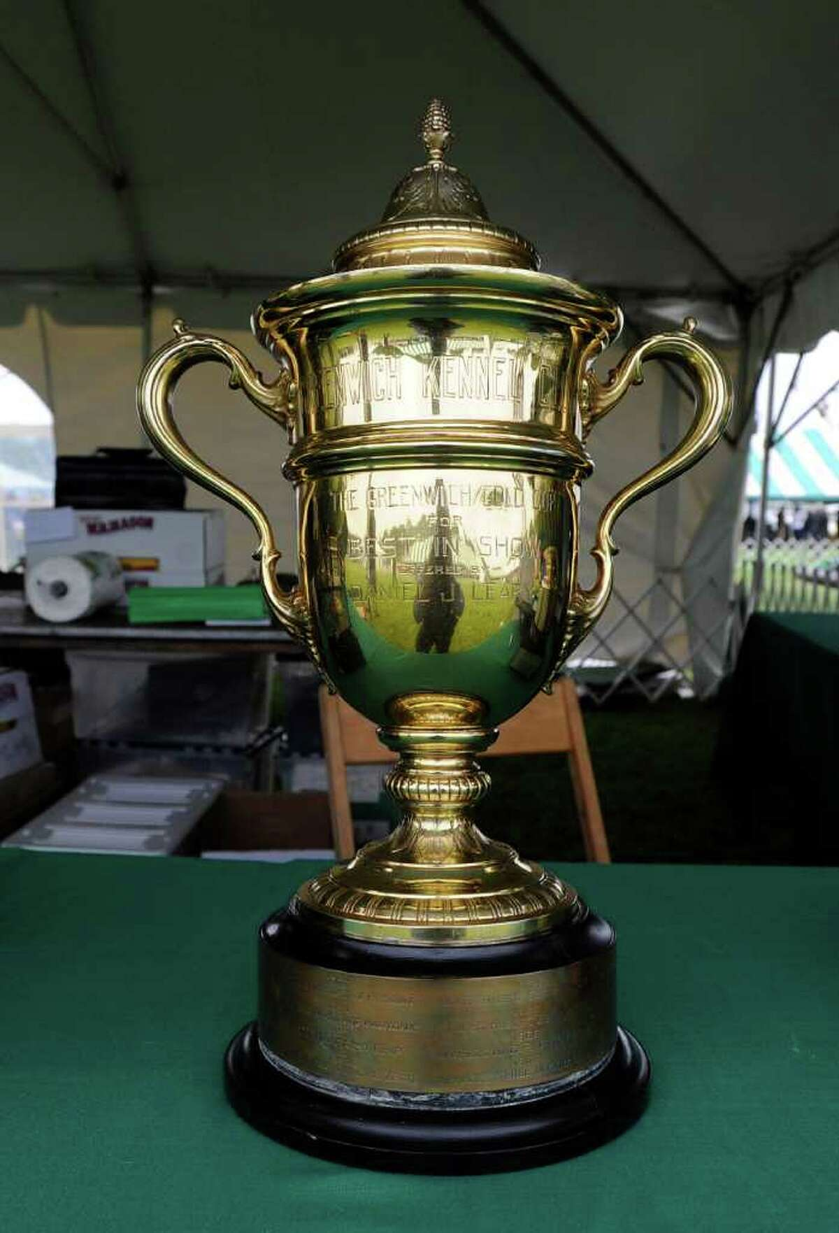 The best in show trophy for the Greenwich Kennel Club All-Breed Dog Show sits on a table at Taylor Farm Park, Norwalk, Saturday afternoon, June 11, 2011.