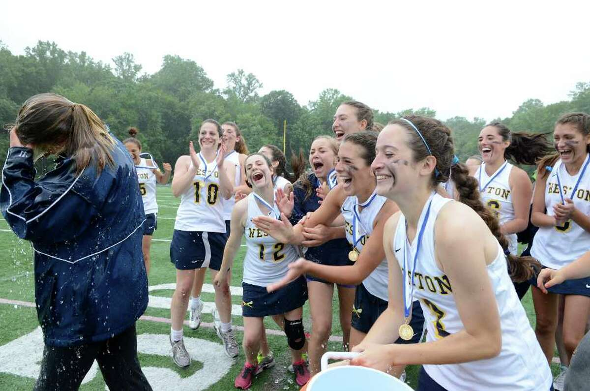 Weston High School wins the Class S girls lacrosse championship versus Granby Memorial High School at Bunnell High School in Stratford, CT on Saturday June 11, 2011.