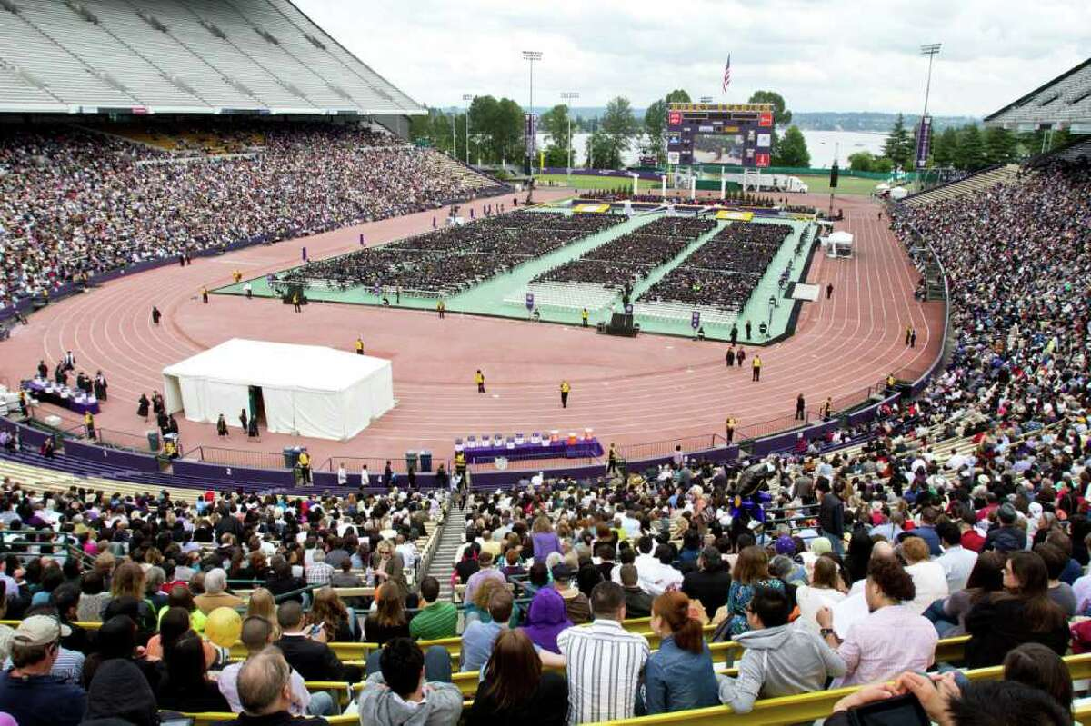 The crowd at the University of Washington's 136th commencement ceremony located in Husky Stadium.
