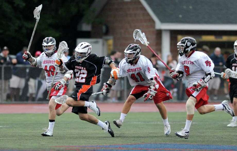 Ridgefield's William Bonaparte controls the ball during Saturday's Division L final at Brien McMahon High School on June 11, 2011. Photo: Lindsay Niegelberg / Connecticut Post