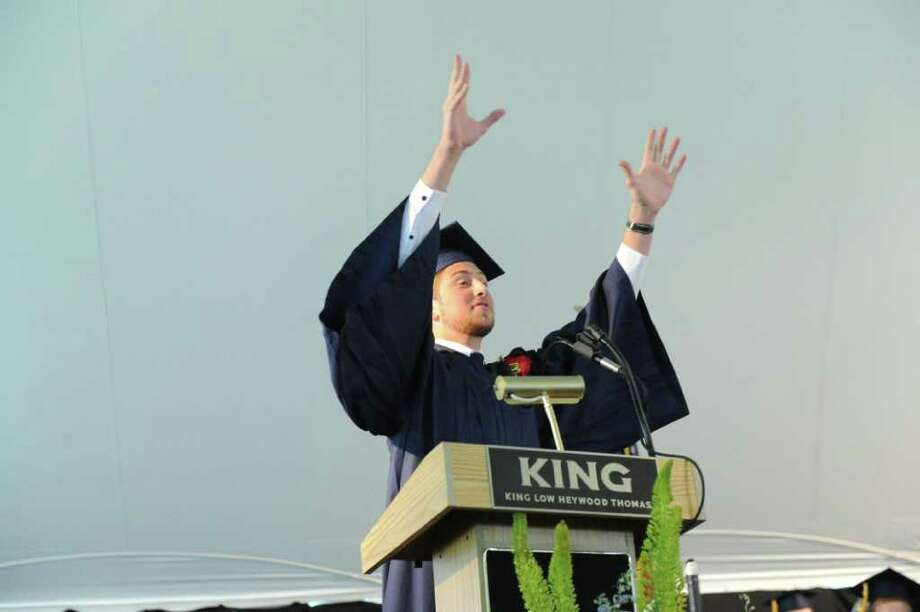 Jesse Futterman serves as the senior speaker during the King Low Heywood Thomas Class of 2011 graduation ceremony in Stamford, Conn., June 12, 2011. Retired New York Life Insurance Company President Fred Sievert gave the commencement address. Photo: Keelin Daly / Stamford Advocate
