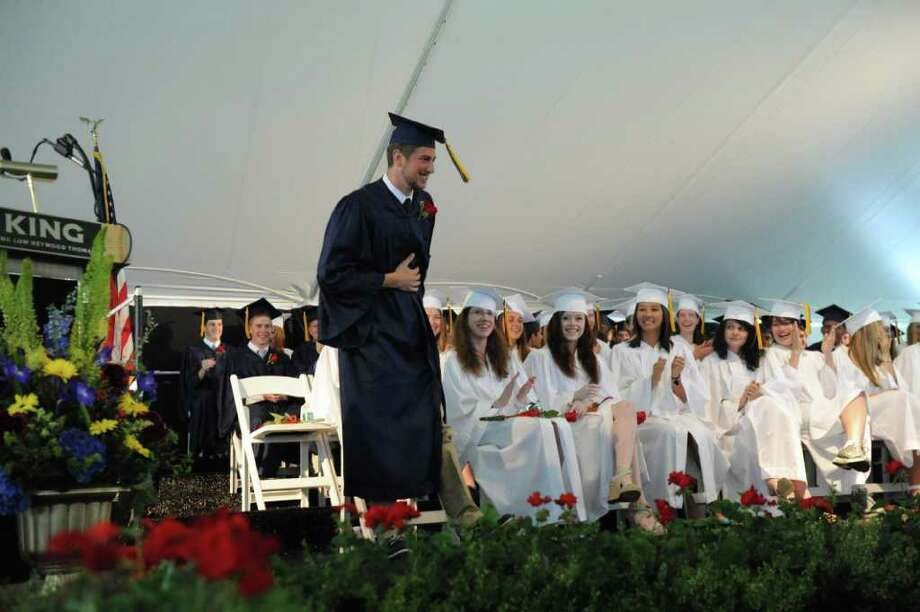 Jesse Futterman bows after his speech during the King Low Heywood Thomas Class of 2011 graduation ceremony in Stamford, Conn., June 12, 2011. Retired New York Life Insurance Company President Fred Sievert gave the commencement address. Photo: Keelin Daly / Stamford Advocate