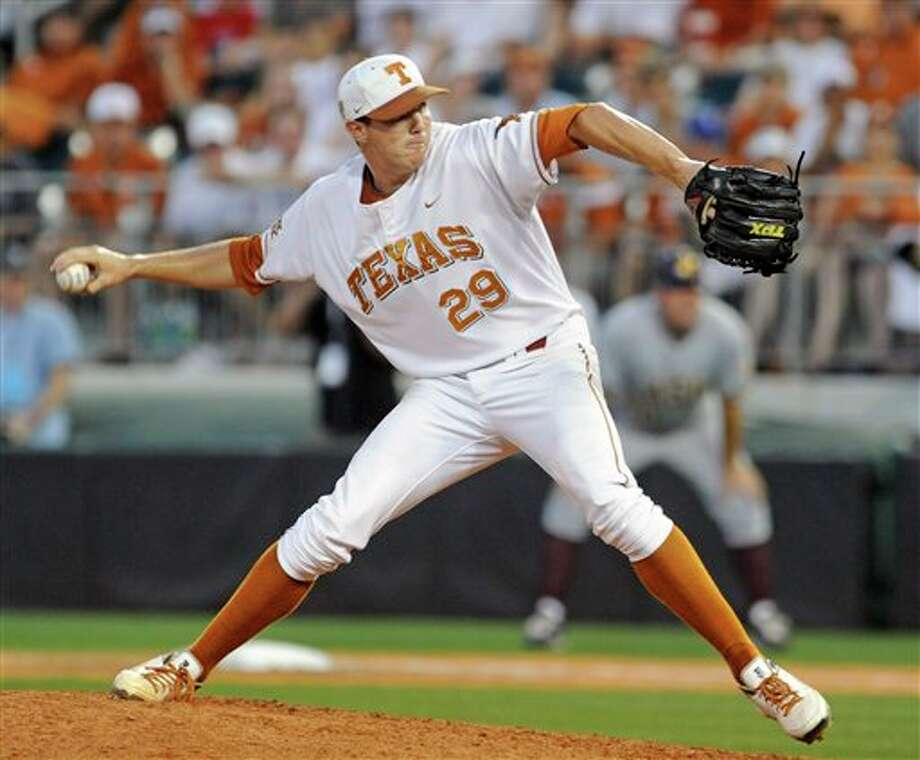 Texas reliever Corey Knebel pitches against Arizona State in the ninth inning during Game 3 of the NCAA college baseball tournament Super Regional, Sunday, June 12, 2011, in Austin, Texas. Knebel got the save in the 4-2 Texas win. (AP Photo/Michael Thomas) Photo: Associated Press