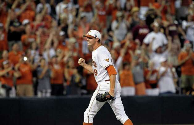 Longhorns closer Cory Knebel pumps his fist as his team wins 4-2 as the Texas Longhorns play Arizona State in game 3 of their super regional playoff series at Disch-Falk Field in Austin on June 12, 2011.    Tom Reel/Staff Photo: TOM REEL, Express-News / © 2011 San Antonio Express-News