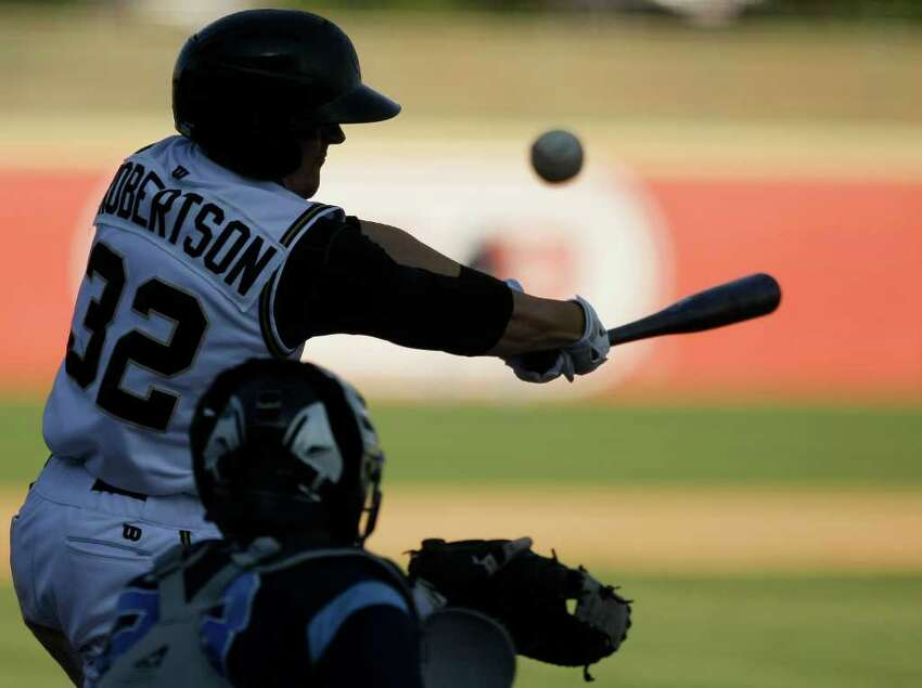 San Antonio Missions' Daniel Robertson swings at a pitch during a Texas league baseball game against the Corpus Christi Hooks, Sunday, June 12, 2011, in San Antonio. San Antonio won 6-4.