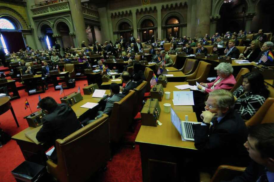 Opening day of the legislative session in the Assembly chamber of the Capitol in Albany, NY on  January 10, 2011.  ( Philip Kamrass / Times Union ) Photo: Philip Kamrass / 00011708A
