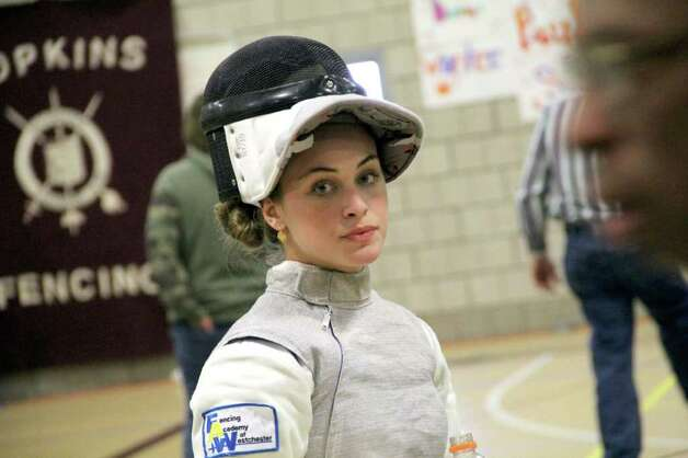 "In an interview back in March, GHS fencer Lauren Miller said, ""The most difficult part of mastering a sport like fencing is being able to keep yourself mentally calm during intense moments in competition."" Those moments should become even more intense at the collegiate level of competition. Photo: Contributed Photo, ST / Greenwich Citizen"