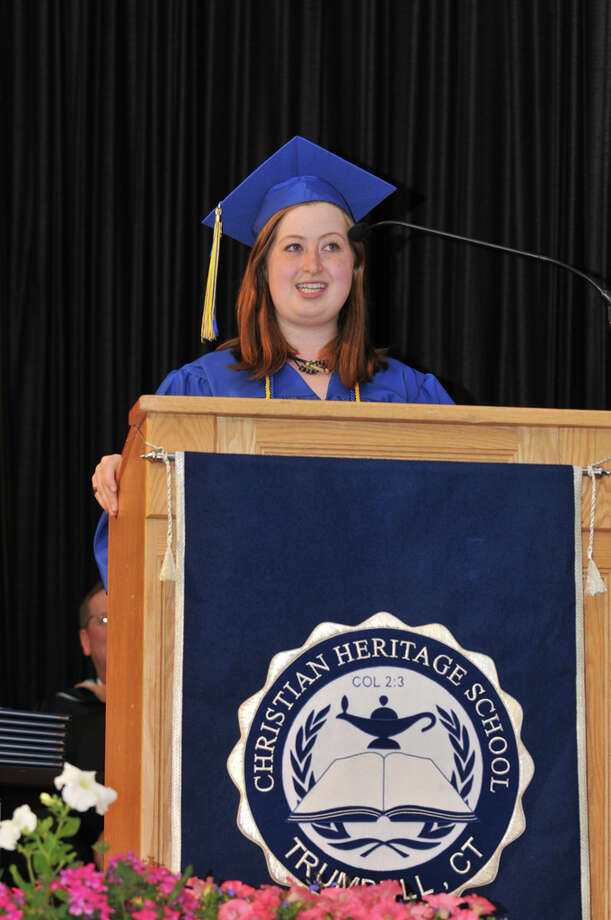 Christian Heritage School valedictorian Elizabeth Ganssle of Hamden addresses the crowd at the school's 28th commencement on Saturday, June 4th. Photo: Contributed Photo / Connecticut Post Contributed