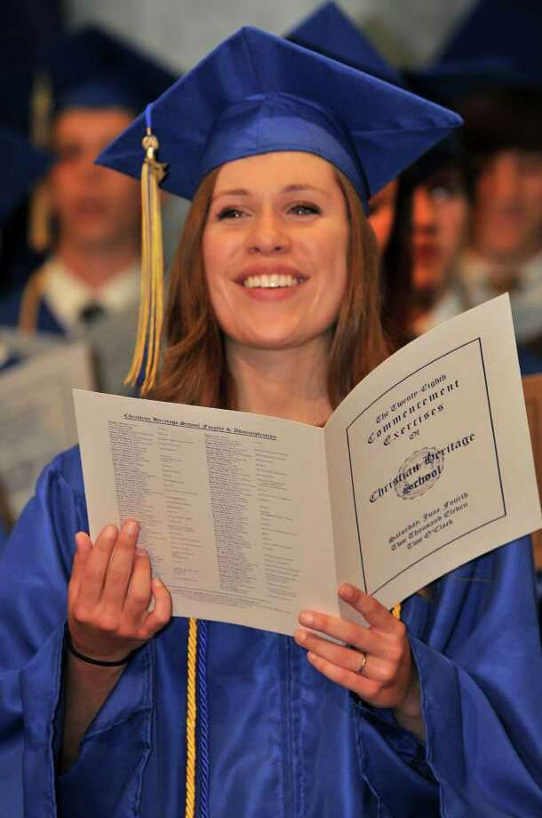 Claire Rudd of Fairfield, who played Cinderella in the CHS spring musical, at the 28th commencement exercises for Christian Heritage School in Trumbull. Photo: Contributed Photo / Connecticut Post Contributed