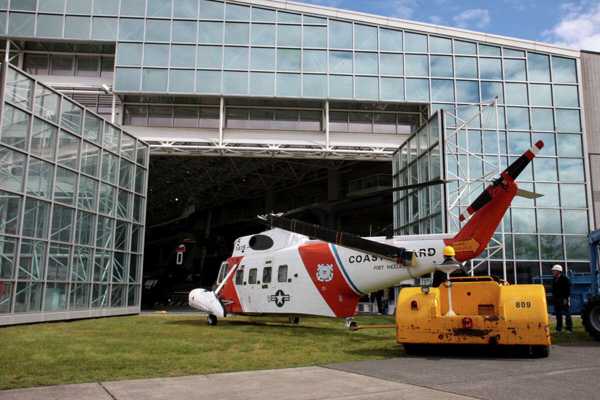 The Museum of Flight installs its former Coast Guard Sikorsky HH-52 Seaguard amphibious helicopter in its Great Hall on Monday, June 13, 2011.