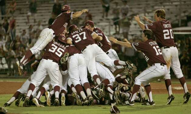 Texas A&M players celebrate their 11-2 victory over Florida State in the teams' Super Regional game on Monday, June 13, 2011, in Tallahassee, Fla. Photo: Steve Cannon/Associated Press