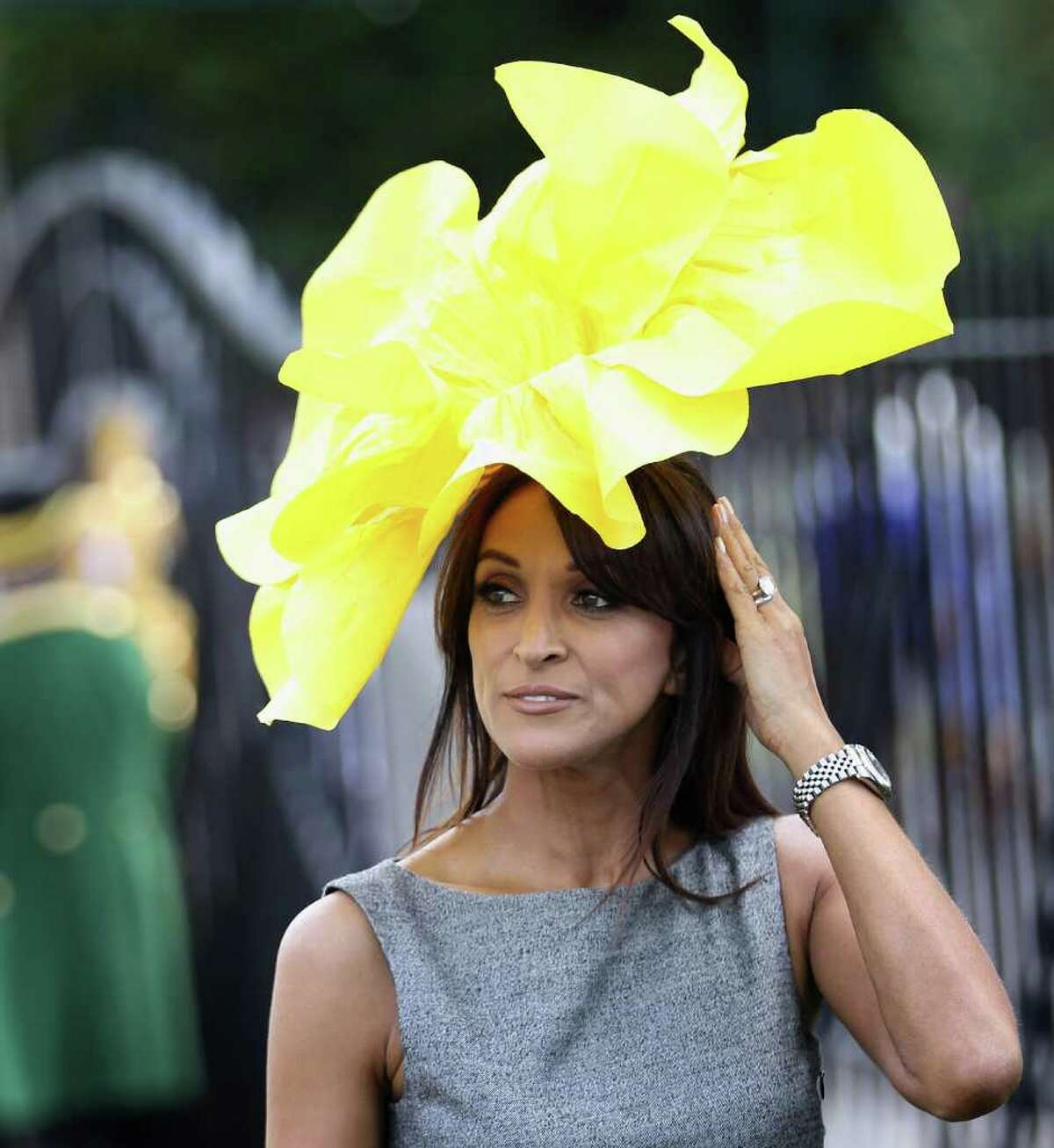 ASCOT, ENGLAND - JUNE 14: A lady in a floral hat is photographed as she arrives for the opening day of Royal Ascot at Ascot Racecourse on June 14, 2011 in Ascot, United Kingdom. (Photo by Chris Jackson/Getty Images)