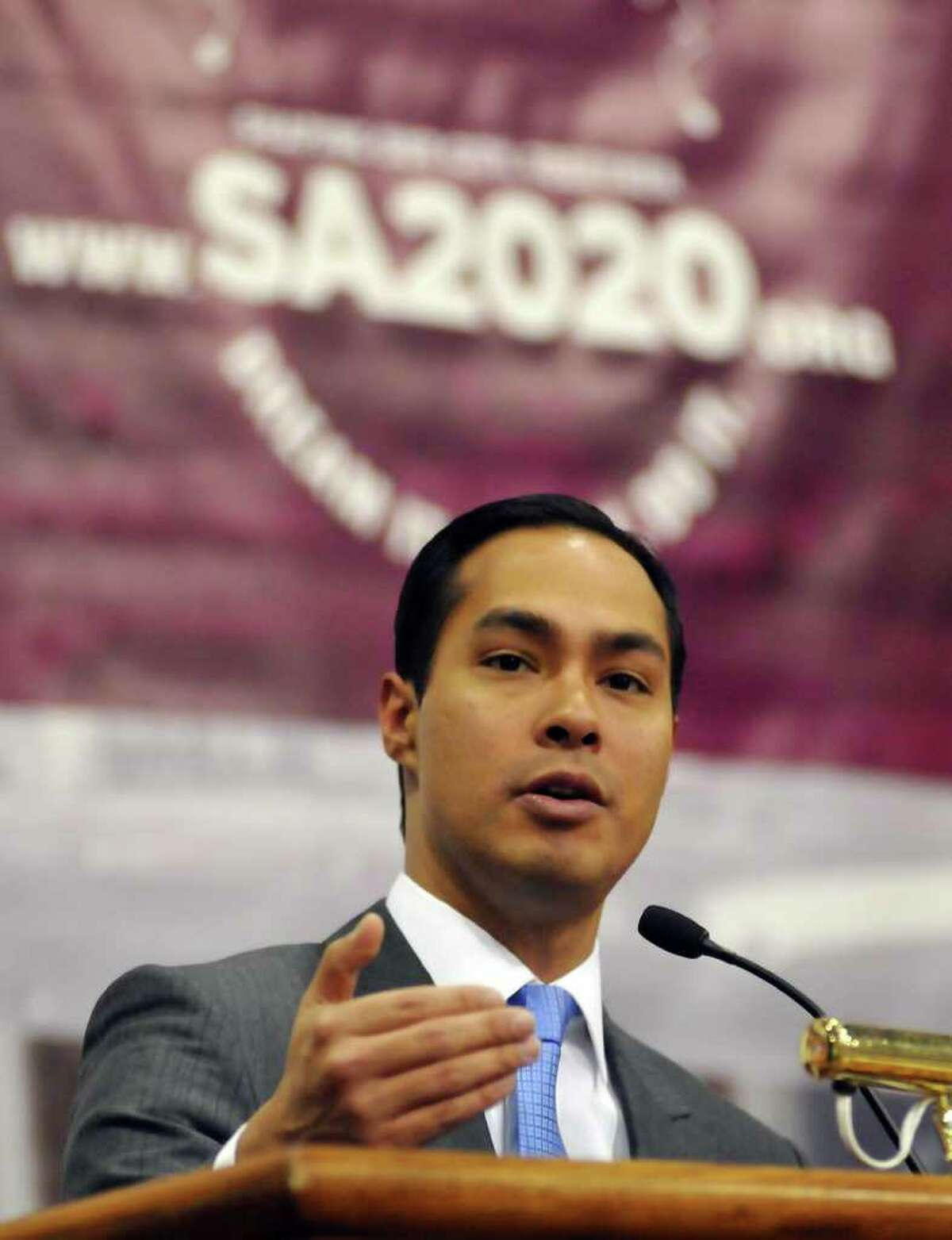 Mayor Castro speaks to open the SA2020 Community Forum in December at St. Mary's University.