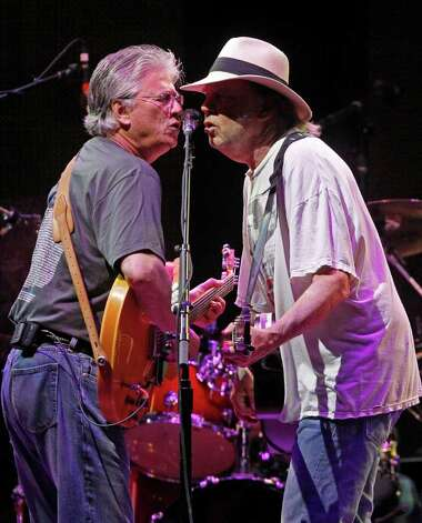 Richie Furay, left, and Neil Young perform with Buffalo Springfield during the Bonnaroo Music and Arts Festival in Manchester, Tenn., Saturday, June 11, 2011. Photo: AP